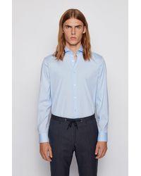 BOSS by HUGO BOSS Slim Fit Shirt In Stretch Poplin - Blue