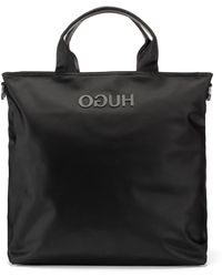 HUGO - Record-style Tote Bag With Rubberised Reverse Logo - Lyst