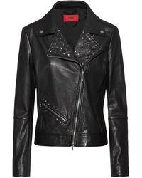 HUGO Biker Jacket In Calf Leather With Stud Detailing - Black