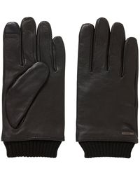 BOSS Touchscreen Leather Gloves With Knitted Cuffs - Black