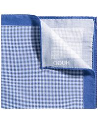 HUGO - Checked Pocket Square With Border In Pure Cotton - Lyst