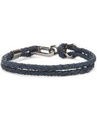 BOSS - Double Braided Calf-leather Bracelet With Carabiner Closure - Lyst