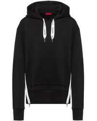 HUGO Relaxed-fit Hoodie In French Terry With Logo Drawcords - Black