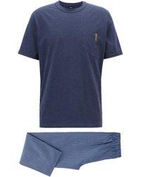 BOSS - Pyjama Set In Cotton Twill With Denim-look Pockets - Lyst