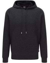 BOSS by Hugo Boss - Hooded Sweater In Virgin Wool With Cotton And Cashmere - Lyst