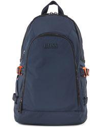 BOSS by HUGO BOSS Mochila de nylon con estructura y correas con el logo - Azul