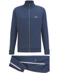 BOSS by HUGO BOSS Regular-fit Trainingspak In Jersey Van Een Katoenmix - Blauw