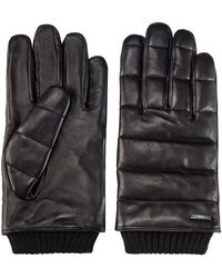 HUGO Nappa-leather Gloves With 3d Stitching And Teddy Lining - Black