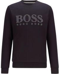 BOSS by HUGO BOSS Slim-fit Sweater Van Een Dubbelgebreide Katoenmix Met Logoprint - Zwart