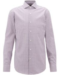 BOSS - Slim-fit Shirt In Vichy-check Cotton Twill - Lyst