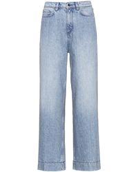HUGO High-waisted Wide-leg Jeans In Pre-shrunk Denim - Grey