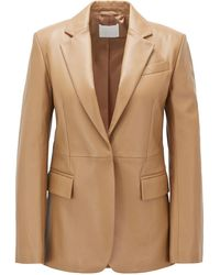 BOSS Regular-fit Tailored Jacket In Plongé Leather - Brown