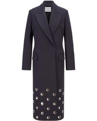 BOSS by HUGO BOSS Relaxed-fit Coat In Italian Wool With Eyelet Trim - Blue