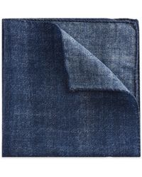 HUGO Plaid Italian Wool Pocket Square - Blue