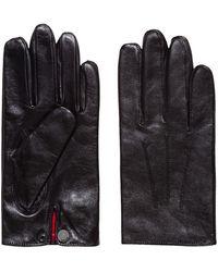 HUGO Handschoenen Van Nappaleer Met Drukknoopsluiting - Zwart
