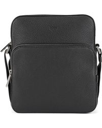 BOSS Reporter-style Bag In Grainy Italian Leather - Black