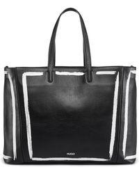HUGO - Print-detail Shopper Bag In Semi-aniline Leather - Lyst