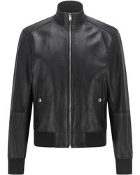 BOSS by HUGO BOSS Bomber-style Leather Jacket In A Regular Fit - Black