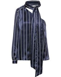 HUGO Striped One-shoulder Top With Neck Scarf - Blue