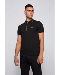 BOSS by HUGO BOSS Polo Slim Fit en coton avec patte de boutonnage à logo - Noir