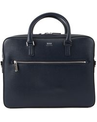 BOSS by Hugo Boss Porte-documents Signature Collection en cuir de veau italien imprimé - Bleu