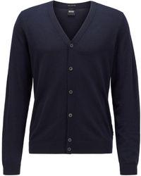 BOSS by HUGO BOSS Vest Met V-hals Van Extra Fijne Italiaanse Merinowol - Blauw