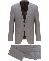 BOSS by HUGO BOSS Slim-Fit Anzug aus gemustertem Schurwoll-Serge - Grau