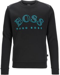 BOSS by HUGO BOSS Felpa in misto cotone con logo curvo ricamato - Nero