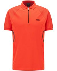 BOSS by HUGO BOSS Poloshirt aus S.Café®-Gewebe mit Troyerkragen - Rot