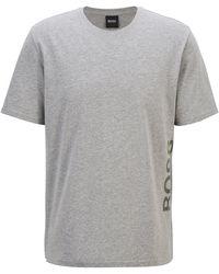 BOSS by HUGO BOSS Stretch-cotton Pyjama T-shirt With Vertical Logo - Grey