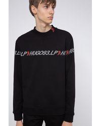 BOSS by Hugo Boss Unisex French Terry Sweatshirt With Chevron Logo Tape - Black