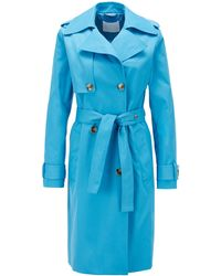 BOSS Throw-over-style Trench Coat In Water-repellent Twill - Blue