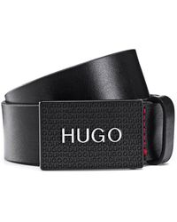 HUGO Italian-leather Belt With Logo-plaque Closure - Black