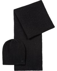 HUGO - Beanie And Scarf Set In A Metallised Wool Blend - Lyst