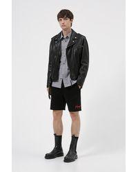 HUGO Slim-fit Biker Jacket In Leather With Belt Detail - Black