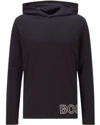 BOSS by HUGO BOSS Pyjama-t-shirt Van Stretchkatoen Met Contourlogo - Zwart