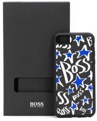 BOSS by HUGO BOSS Italian Leather I Phone Case With Stars And Logos - Black