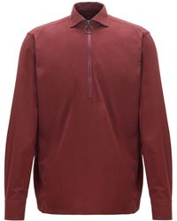BOSS Relaxed-fit Shirt In Cotton Twill With Zipped Neck - Red