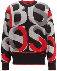BOSS by HUGO BOSS Cotton Jumper With Large-scale Jacquard-woven Logos - Multicolour