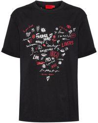 HUGO Organic-cotton T-shirt With Heart-shaped Scribble Print - Black