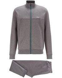 BOSS by HUGO BOSS Regular-Fit Trainingsanzug aus Baumwoll-Mix - Grau
