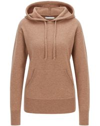 BOSS by HUGO BOSS Hooded Jumper In A Wool Blend With Cashmere - Brown