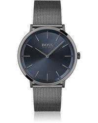BOSS by HUGO BOSS Schwarz beschichtete Uhr mit Mesh-Armband und blauem Zifferblatt