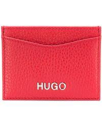 HUGO - Card Holder In Grained Italian Leather - Lyst