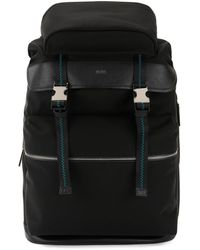 BOSS - Backpack With Buckle Closure And Italian-leather Trims - Lyst