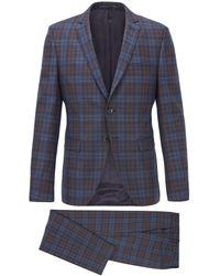 BOSS by Hugo Boss Extra-slim-fit Suit In Melange Virgin Wool - Blue