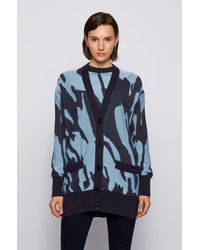 BOSS by Hugo Boss Cardigan Oversized Fit en coton et soie, avec motif de la collection - Bleu