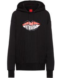 HUGO Hooded Sweatshirt In Organic Cotton With Logo Print - Black
