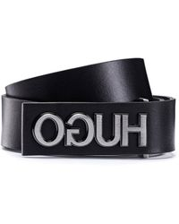 HUGO Smooth-leather Belt With Gunmetal-effect Reversed Logo - Black