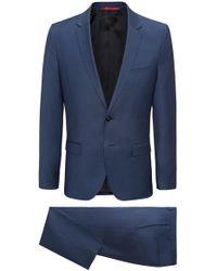 HUGO - Extra-slim-fit Suit In Patterned Virgin Wool - Lyst